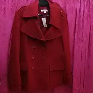 XL Red wool pea coat